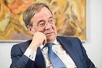 31 MAY 2021, BERLIN/GERMANY:<br /> Armin Laschet, CDU, Ministerpraesident Nordrhein-Westfalen und CDU Bundesvorsitzender, waehrend einem Interview, Landesvertretung NRW<br /> IMAGE: 20210531-01-029