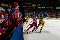 KELOWNA, BC - DECEMBER 18:  Jacob Olofsson #18 of Team Sweden stick checks Evgeny Kanitskiy #11 of Team Russia into the boards during second period at Prospera Place on December 18, 2018 in Kelowna, Canada. (Photo by Marissa Baecker/Getty Images)***Local Caption***