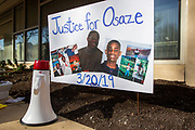 A sign memorializing Osaze Osagie is seen outside of the municipal building in State College, Pennsylvania on March 19, 2021. The 3/20 Coalition organized a protest and march to mark the second anniversary of Osaze Osagie being shot and killed by State College police at his apartment. (Photo by Paul Weaver)