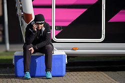 Lisa Brennauer makes some calls in the Spring sunshine at Ronde van Drenthe 2017. A 152 km road race on March 11th 2017, starting and finishing in Hoogeveen, Netherlands. (Photo by Sean Robinson/Velofocus)