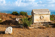 Sarcophagus and sea at the Roman and Byzantine ruins of Al-Mina Archaeological Site in Tyre, Lebanon