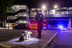 © Licensed to London News Pictures. 20 08 2020 London, UK. A Police sniffer dog works at the scene of a stabbing outside the Westferry DLR station in East London, which happened at around 7:40pm, where one man has received injuries that are not thought to be life-threatening. Photo credit: Paul Davey/LNP