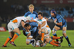 PRETORIA, South Africa, 28 May 2011. Pierre Spies of the Bulls gets across the advantage line during the Super15 Rugby match between the Bulls and the Cheetahs at Loftus Versfeld in Pretoria, South Africa on 28 May 2011..Photographer : Anton de Villiers / SPORTZPICS