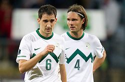 Branko Ilic and Marko Suler of Slovenia after the football match between National Teams of Slovenia and Serbia of UEFA Euro 2012 Qualifying Round in Group C on October 11, 2011, in Stadium Ljudski vrt, Maribor, Slovenia.  Slovenia defeated Serbia 1-0. (Photo by Vid Ponikvar / Sportida)