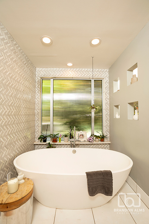 A beautiful master bathroom. Interior Photography by Brandon Alms Photography