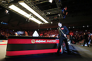 Ronnie O'Sullivan (Eng) walks to the table. Ronnie O'Sullivan v Liang Wenbo, 1st round match at the Dafabet Masters Snooker 2017, day 1 at Alexandra Palace in London on Sunday 15th January 2017.<br /> pic by John Patrick Fletcher, Andrew Orchard sports photography.