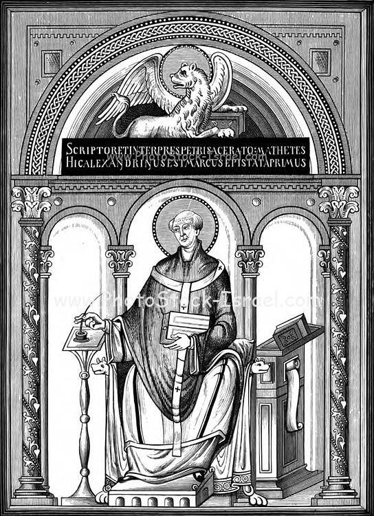 Miniature of the Evangelist St Mark; from a manuscript of the Gospels From the book ' Illuminated manuscripts in classical and mediaeval times : their art and their technique ' by Middleton, J. H. (John Henry), 1846-1896 Published in 1892