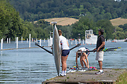 """Henley on Thames, United Kingdom, 24th June 2018, Sunday, """"Henley Women's Regatta"""", view, Women's Single Scullers,, preparing for a training session, catty and  floats their Boats, Henley Reach, River Thames, Thames Valley, England, © Peter SPURRIER,  24/06/2018"""