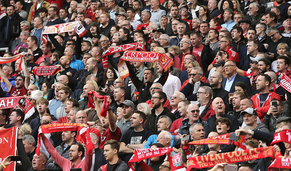 Liverpool fans sing ahead of kick-off in the new Kenny Dalglish stand<br /> <br /> Photographer Rich Linley/CameraSport<br /> <br /> The Premier League - Liverpool v Manchester United - Saturday 14th October 2017 - Anfield - Liverpool<br /> <br /> World Copyright © 2017 CameraSport. All rights reserved. 43 Linden Ave. Countesthorpe. Leicester. England. LE8 5PG - Tel: +44 (0) 116 277 4147 - admin@camerasport.com - www.camerasport.com