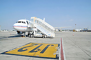 Israel, Ben-Gurion international Airport mobile stairs at an aeroplane's door