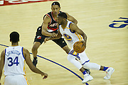 Golden State Warriors guard Ian Clark (21) attacks the basket against the Portland Trail Blazers at Oracle Arena in Oakland, Calif., on October 21, 2016. (Stan Olszewski/Special to S.F. Examiner)