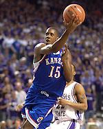 Kansas guard Mario Chalmers goes to the basket against Kansas State, during the first half at Bramlage Coliseum in Manhattan, Kansas, March 4, 2006.  The Jayhawks won 66-52.