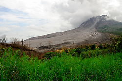 April 27, 2017 - north sumatera, Indonesia - Two artificial lakes found around Sinabung, 3 weeks ago, after the lava dome collapsed and carried 2 km. of hot clouds, the lake was formed due to the lakes of Borus rivers, and the Pertumbuken river along the lava and hot clouds. (Credit Image: © Sabirin Manurung/Pacific Press via ZUMA Wire)