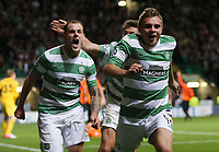Football - 2013 / 2014 Champions League - Qualifying, Play-Off Round, Second Leg: Celtic vs. Shakhter Karagandy<br /> <br /> James Forrest of Celtic celebrates after he scores Celtic's third goal during the Celtic and Shakhter Karagandy Champions League qualification match at Parkhead Stadium, Glasgow on August 28th August 2013.<br /> <br /> Ian MacNicol/Colorsport