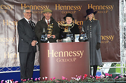 MAURICE HENNESSY, Gold Cup winners owners of Madison Du Berlais ROGER STANLEY and YVONNE REYNONDS and LADY GABRIELLA WINDSOR at the 2008 Hennessy Gold Cup held at Newbury racecourse, Berkshire on 29th November 2008.<br /> <br /> NON EXCLUSIVE - WORLD RIGHTS