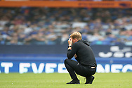 The lonely figure of relegated Bournemouth Manager Eddie Howe gets a few minutes to himself  on the pitch after during the Premier League match between Everton and Bournemouth at Goodison Park, Liverpool, England on 26 July 2020.