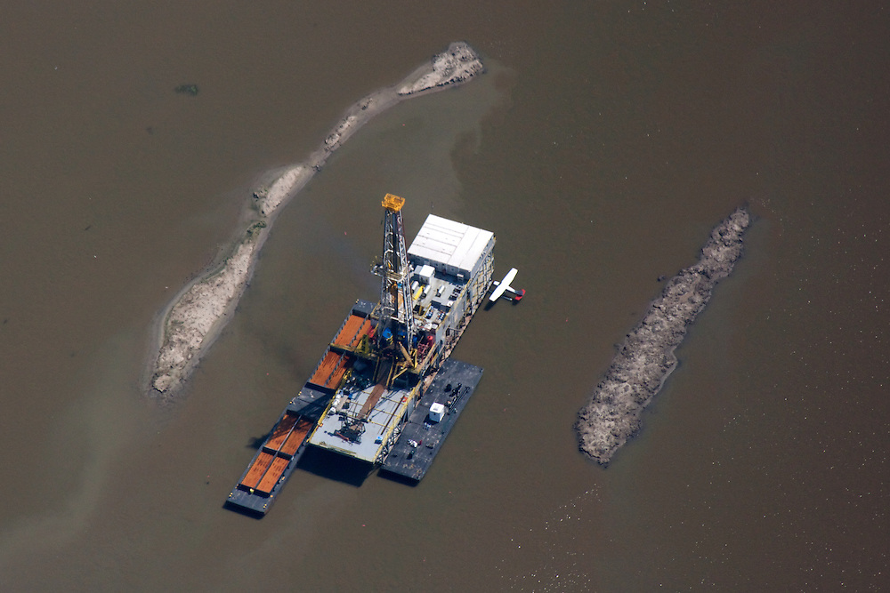 Drilling rig, near Southwest Pass, Louisiana, USA