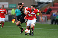 Bradley Barry of Swindon Town holding the shirt of Bradden Inman of Crewe Alexandra.  Skybet football league 1 match, Crewe Alexandra v Swindon Town at The Alexandra Stadium in Crewe, Cheshire on Saturday 5th September 2015.<br /> pic by Chris Stading, Andrew Orchard sports photography.