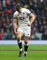 England's Owen Farrell misses a conversion kick during the NatWest 6 Nations match at Twickenham Stadium, London.