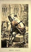 """Monk of La Trappe. Monachus La Trappius, from the book ' Monachologia, or, Handbook of the natural history of monks : arranged according to the Linnean system ' by Born, Ignaz Edler von, 1742-1791; Krasinski, Walerian, 1780-1855 Published in 1852 in Edinburgh by Johnstone & Hunter. This is a  Victorian anti-Catholic/anti-European satire or parody written in pseudo-scientific natural history jargon, complaining of the laziness, odd dress & weird habits (literally!), strange hours & stranger noises of various orders of monks, deposited of British shores by Papist Europeans of little merit and bad intent. Each major order of Monk is depicted & described in most unflattering terms. """"Hence it is evident, that the monk forms a distinct class of mammalia, which holds a middle place, and forms a connecting link between man and monkey."""""""