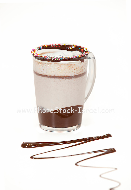 Chocolate mousse on white background