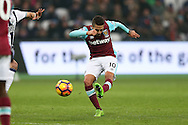 Manuel Lanzini of West Ham United scores his sides 2nd goal to make it 2-1. Premier league match, West Ham Utd v West Bromwich Albion at the London Stadium, Queen Elizabeth Olympic Park in London on Saturday 11th February 2017.<br /> pic by John Patrick Fletcher, Andrew Orchard sports photography.