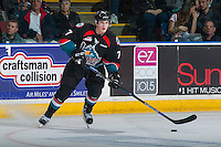 KELOWNA, CANADA - OCTOBER 21: Lucas Johansen #7 of the Kelowna Rockets skates with the puck against the Tri-City Americans on October 21, 2016 at Prospera Place in Kelowna, British Columbia, Canada.  (Photo by Marissa Baecker/Shoot the Breeze)  *** Local Caption ***