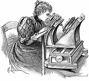 Plate measuring microscope. Woman measuring star positions on a photographic plate during compilation of the Carte du Ciel, Paris Observatory. Wood engraving 1895.