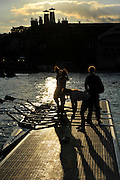 Henley on Thames. United Kingdom.    Crew returning from training as the sun sets, 2013 Henley Royal Regatta, Henley Reach. 20:09:10  Wednesday  03/07/2013  [Mandatory Credit  Intersport Images]