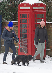 © Licensed to London News Pictures 08/02/2021.        Otford, UK. Dog walkers in the snow in Otford, Kent. The Met Office has warned of more freezing cold snowy weather to come with yellow and amber alerts in place for London, Kent and the South East. Photo credit:Grant Falvey/LNP