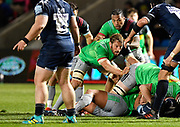Harlequins flanker Chris Robshaw and centre Alofa Alofa watch from a ruck during a Gallagher Premiership match won by Sale Sharks 27-17 at the AJ Bell Stadium, Eccles, Greater Manchester, United Kingdom, Friday, April 5, 2019. (Steve Flynn/Image of Sport)