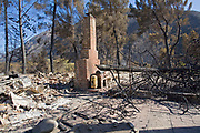 Houses and residential area devastated by Station fire, Sept 5 2009. Big Tunjunga Canyon Road, San Gabriel Mountains, Angeles National Forest, Los Angeles, California ,USA