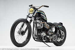 """Coffee Black, A custom motorcycle built from a 1976 FL Shovelhead, by Randall """"Bo"""" Hartzoge. Photographed by Michael Lichter in Charlotte, SC, USA on 1/25/19. ©2019 Michael Lichter."""
