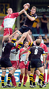 Wycombe. GREAT BRITAIN, 24th October 2004 <br /> Heineken Cup Rugby, London Wasps v Biarritz,  Adams Park, ENGLAND. Photo, Peter Spurrier/Intersport-images]<br /> Wasps Richard Birkett [right] and Imanol Harinordoquy, jumping in the line.<br /> ,