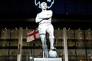 a General view of the Sir Bobby Moore statue outside Wembley Stadium. Premier league match, Tottenham Hotspur v Manchester Utd at Wembley Stadium in London on Wednesday 31st January 2018.<br /> pic by Steffan Bowen, Andrew Orchard sports photography.