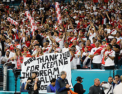 March 23, 2018 - Miami Gardens, Florida, USA - Peruvian fans cheer during a FIFA World Cup 2018 preparation match between the Peru National Soccer Team and the Croatia National Soccer Team at the Hard Rock Stadium in Miami Gardens, Florida. (Credit Image: © Mario Houben via ZUMA Wire)