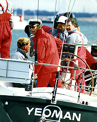 File photo dated 31/07/89 of the Duke of Edinburgh helping the yacht Yeoman in the Sigma 38 Fleet at Cowes during the Admiral Cup. Philip was an accomplished all-round sportsman with a particular passion for polo and carriage driving. Issue date: Friday April 9, 2021.
