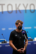 Callum Gilbert speaks at a press conference during the Tokyo 2020 Olympic Games. Tuesday 27th July 2021. Mandatory credit: © John Cowpland / www.photosport.nz