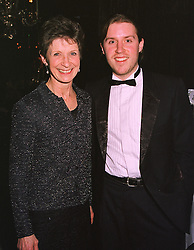 MRS FIONA CASTLE widow of entertainer Roy Castle and their son MR BEN CASTLE, at a dinner in London on 5th March 1999.MPB 4