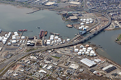 """New Haven Connecticut Harbor, Pearl Harbor Memorial """"Q"""" & Tomlinson Bridges just east of Interstate I-95 I-91 US Route 34 Interchanges. Long and High View of approaches, bridges, overpasses, ramps, roadway, Quinnipiac and Mill Rivers, within the I-95 New Haven Harbor Crossing Corridor project confines. Also including Harbor Terminal Operations. Photography taken at the beginning of Construction, Contract B1 & E1"""