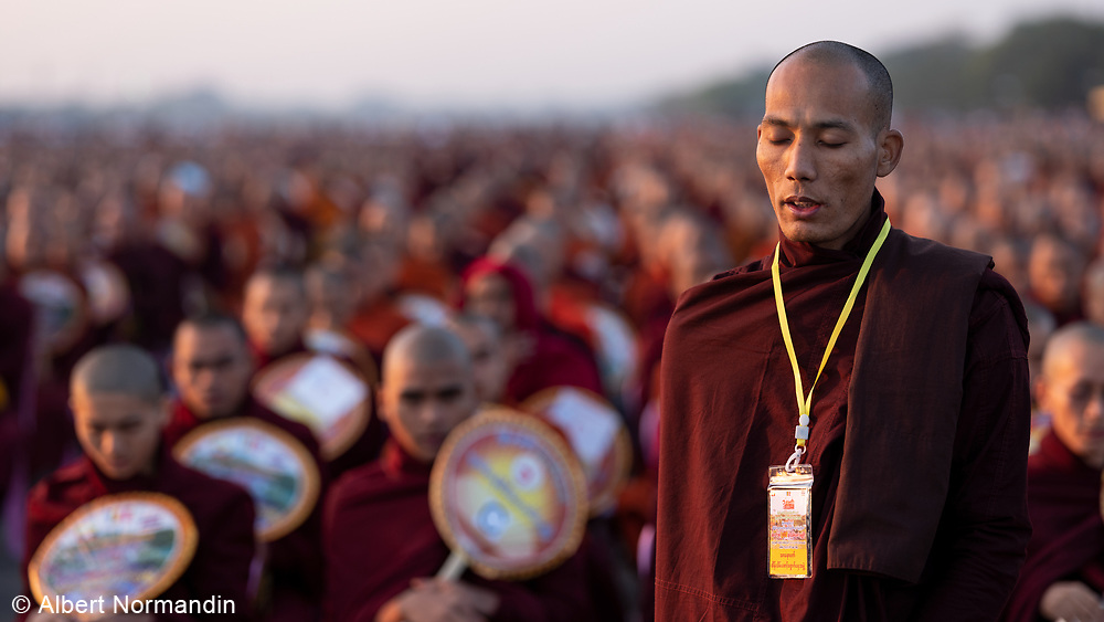 Offering to 20,000 Monks at Mandalay Chanmyathazi Airport, Myanmar