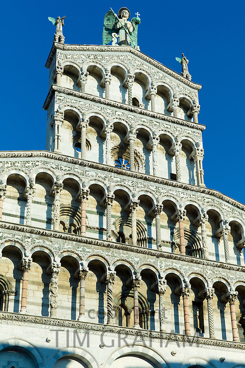 Catholic church of San Michele in Foro with Romanesque Rennaisance facade in Piazza San Michele, Lucca, Italy