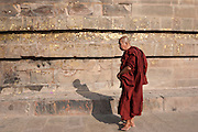Buddhist monk praying as he walks around Dhamakh Stupa at Sarnath ruins near Varanasi, Benares, Northern India