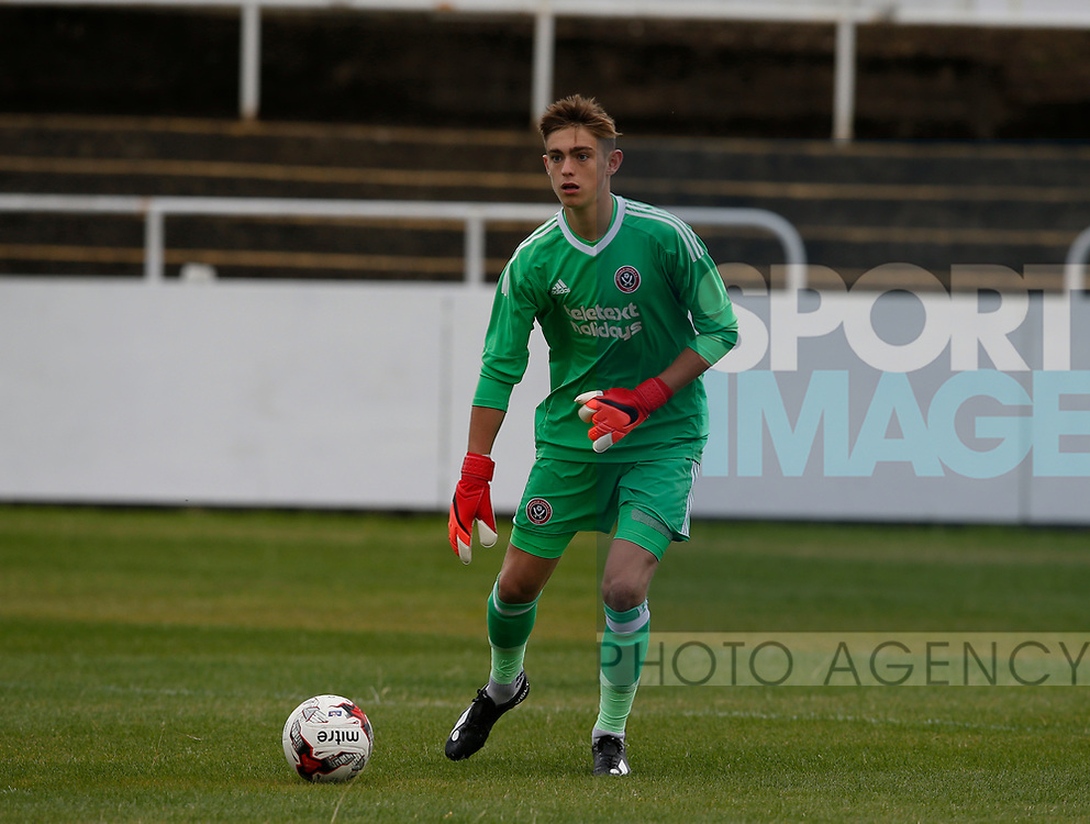 Marcus Dewhurst of Sheffield Utd during the professional development league two match at the Bracken Moor Stadium, Stocksbridge. Picture date 21st August 2017. Picture credit should read: Simon Bellis/Sportimage