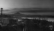 The Space Needle and Mount Rainier dominated The skyline from Queen Anne Hill. Even Mount St. Helens, right, was visible. (Johnny Closs / The Seattle Times, 1963)