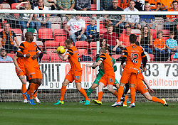 Dundee United's Frank van der Struijk adjuged to have hand balled and was booked, giving Dunfermline their third penalty. Dunfermline 1 v 3 Dundee United, Scottish Championship game played 10/9/2016 at East End Park.