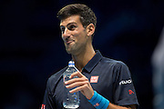 Novak Djokovic of Serbia jokes with the crowd during day five of the Barclays ATP World Tour Finals at the O2 Arena, London, United Kingdom on 17 November 2016. Photo by Martin Cole.