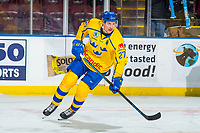 KELOWNA, BC - DECEMBER 18:  David Gustafsson #27 of Team Sweden warms up against the Team Russia at Prospera Place on December 18, 2018 in Kelowna, Canada. (Photo by Marissa Baecker/Getty Images)***Local Caption***