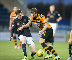 Falkirk's Blair Alston and Alloa Athletic's Graeme Holmes. <br /> Falkirk 5 v 0 Alloa Athletic, Scottish Championship game played at The Falkirk Stadium.