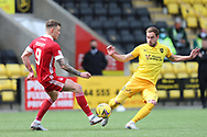 Aberdeen's Callum Hendry (9) and Scott Pittman (8) of Livingston battles for possession, tussles, tackles, challenges, during the Scottish Premiership match between Livingston and Aberdeen at Tony Macaroni Arena, Livingstone, Scotland on 1 May 2021.